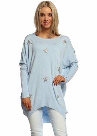Laetitia Mem Baby Blue Diamonte Sparkling Stars Oversized Jumper