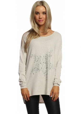 Made In Italy Scattered Pearls & Studded Star Light Beige Jumper