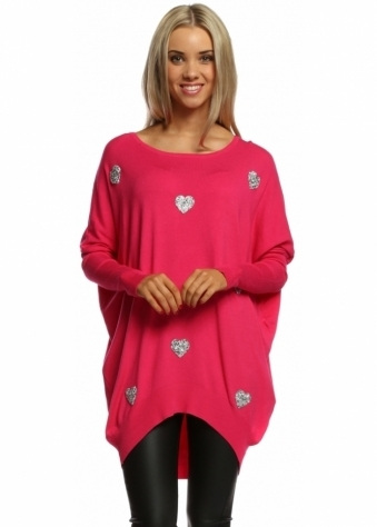 Laetitia Mem Hot Pink Sparkling Silver Hearts Oversized Jumper