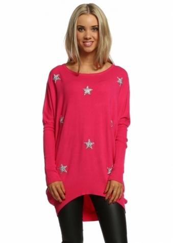 Laetitia Mem Diamonte Sparkling Stars Hot Pink Oversized Jumper