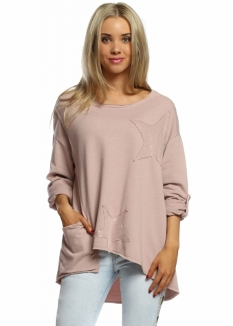 Sugar Babe Rose Pink Star Sequinned Casual Cotton Sweater