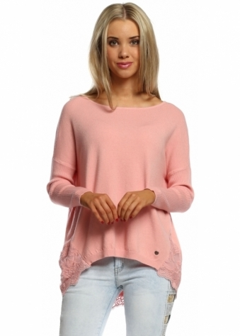 Made In Italy Short Dusky Pink Lace Hem Ribbed Sleeve Jumper
