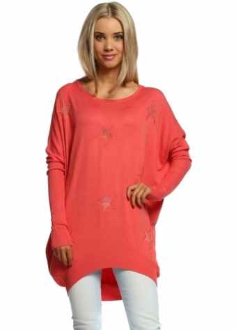 Laetitia Mem Coral Crush Mesh Stars Oversized Jumper