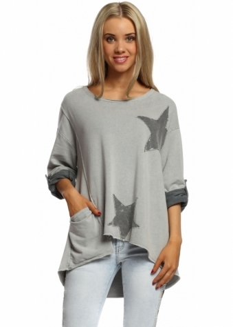 Sugar Babe Grey Contrast Star Sequinned Casual Cotton Sweater