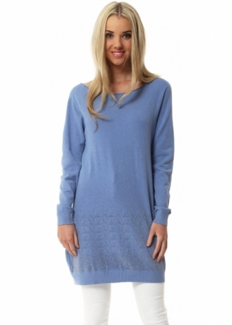 Made In Italy Blue Crystal Tunic Jumper