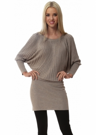 Laetitia Mem Taupe Ribbed Batwing Sleeve Long Jumper