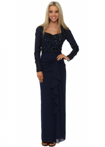 Bodine Navy Blue Ruffle Skirt Maxi Dress