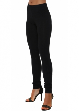 A Postcard From Brighton Plain Black Jersey Leggings