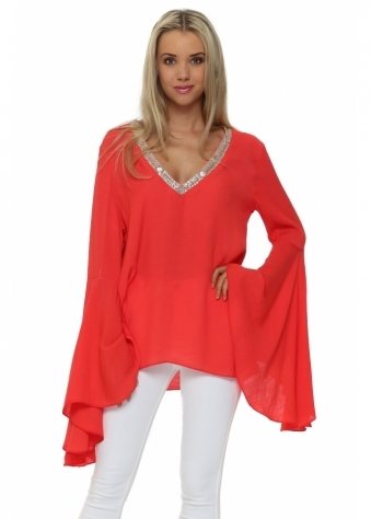Just M Paris Coral Top With Bell Sleeves & Beaded V Neck