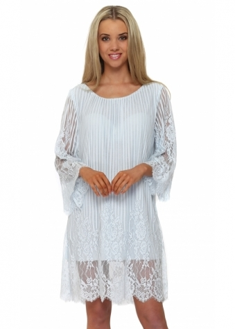 Monton Fluted Sleeve Lace Mini Shift Dress