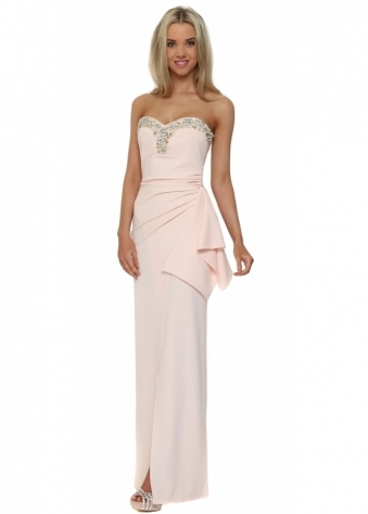 Gilda Jewelled Bustier Maxi Dress In Nude