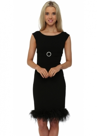 Little Black Dress Hepburn Feathered Hem Black Party Dress