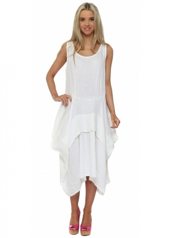 Made In Italy White Linen Sleeveless Layered Dress