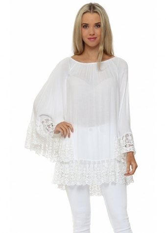 Made In Italy White Batwing Lace Sleeve Top