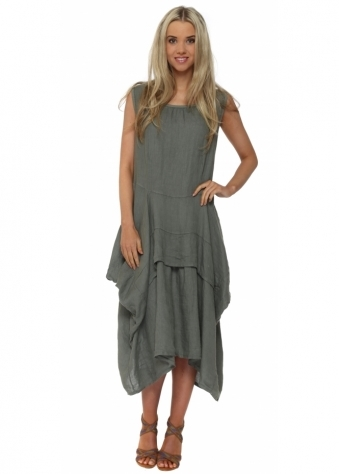 Made In Italy Khaki Linen Sleeveless Layered Dress