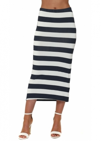 A Postcard From Brighton Sandy Sea Stripe Midi Skirt In Cream Foam