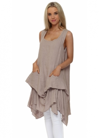 Made In Italy Taupe Linen Sleeveless Relaxed Tunic Top