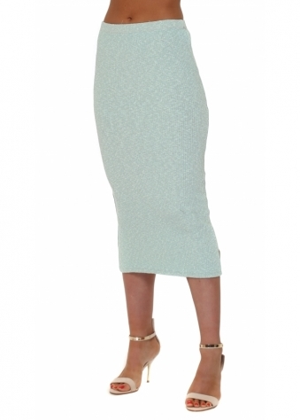 A Postcard From Brighton Reese Slub Rib Midi Skirt In Mojito