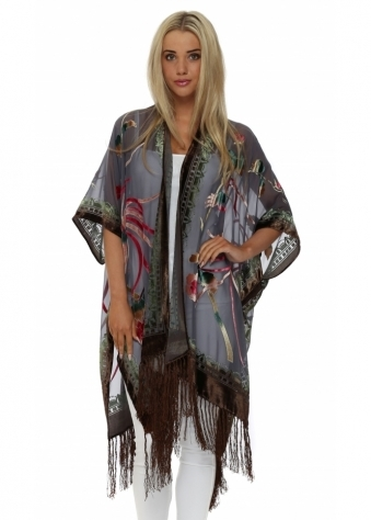 JayLey Grey Devore Silk Cape Kaftan Jacket