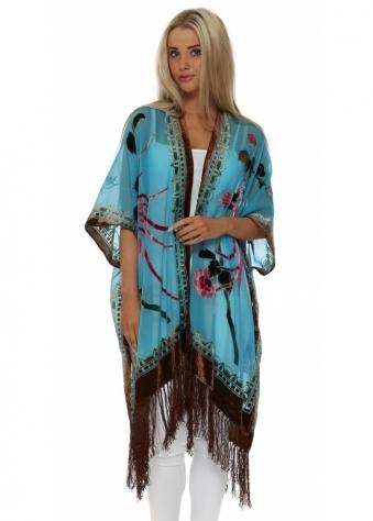 JayLey Turquoise Devore Silk Kaftan Jacket