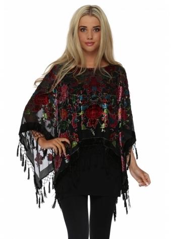 JayLey Black Floral Silk Devore Beaded Poncho
