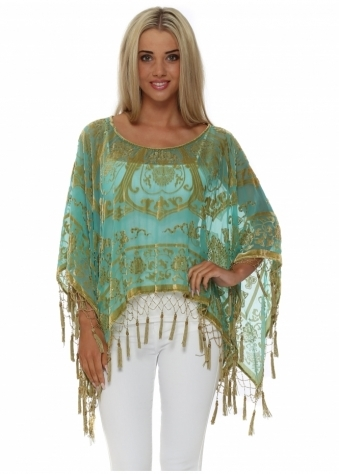 JayLey Green Silk Devore Tassel Poncho