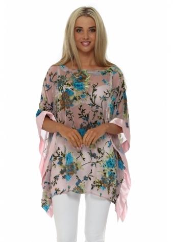 Baby Pink Silk Devore Kaftan Top