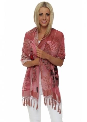 JayLey Dusky Pink Butterfly Silk Devore Tassel Scarf