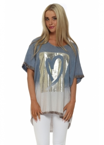 Made In Italy Blue Foil Heart Short Sleeved Top