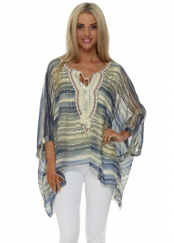 Made In Italy Yellow & Blue Striped Silk Batwing Top