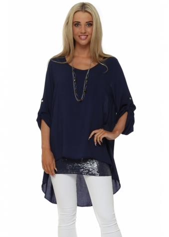 Made In Italy Navy Blue Sequinned Hem Shirt & Necklace