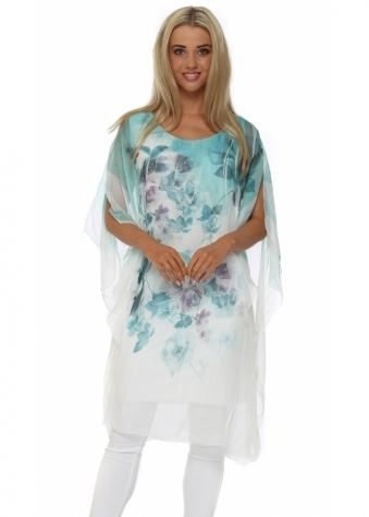 Made In Italy Turquoise Floral Print Long Kaftan Top