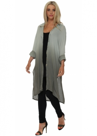 Made In Italy Khaki Ombre Long Tunic Shirt
