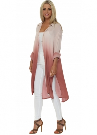 Made In Italy Pink Ombre Long Tunic Shirt