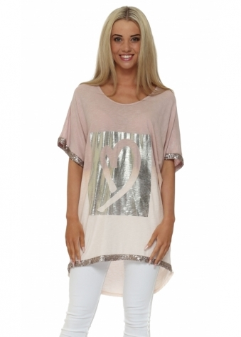 Made In Italy Pink Foil Heart Short Sleeved Top