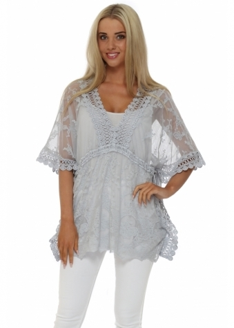 Made In Italy Grey V Neck Lace Kaftan Top