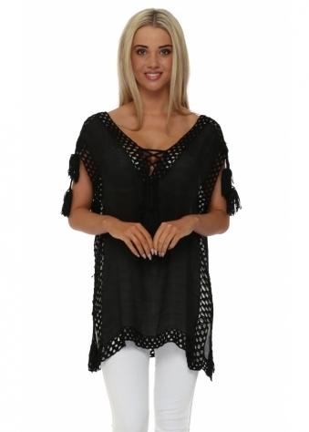 Designer Desirables Black Crochet Panel Tassel Top