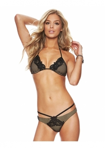 Black Bed Of Roses Bikini Triangle Top Skimpy Bottom