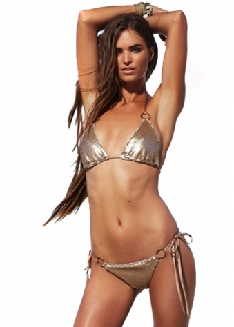 Beach Bunny Siren Song Bikini In Gold Sequins