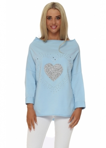 L'Olive Verte Blue Crystal Star Boat Neck Cotton Sweater