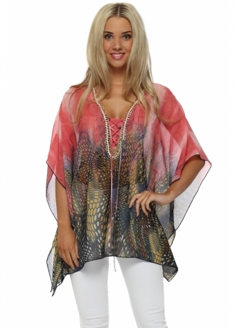 French Boutique Pink Print Gold Chain Kaftan Top
