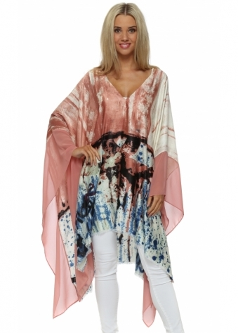 JayLey Pink Cashmere Abstract Print Poncho