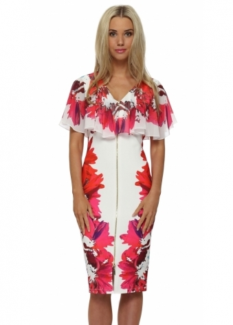 Genese Florentina Floral Print Cape Pencil Dress