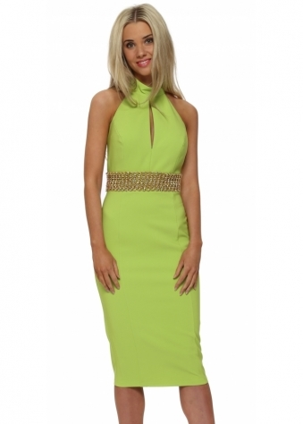 Genese Laila Lime Beaded Halterneck Pencil Dress