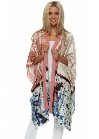 JayLey Pink Cashmere Patchwork Print Kimono