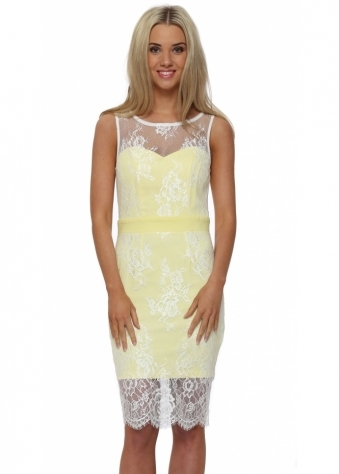 Lemon Lace Overlay Midi Pencil Dress