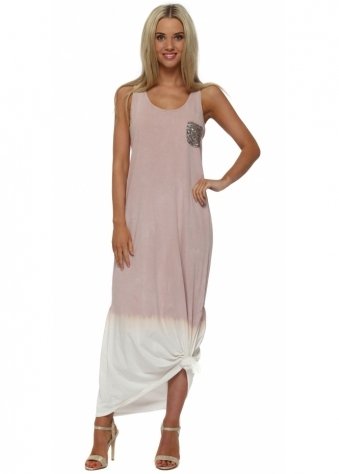 Made In Italy Pink Knotted Ombre Maxi Dress