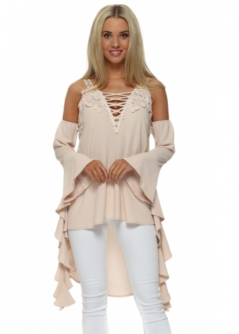 Legende By Angel Blush Pink Cold Shoulder Waterfall Top