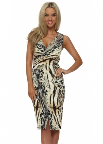 Genese Wrap Over Animal Print Midi Dress