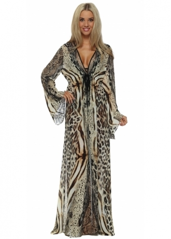 Genese Animal Print Crystal Embellished Maxi Kaftan